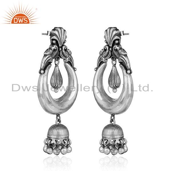 Exporter Traditional Bali Oxidized Design 925 Sterling Silver Jhumka Earrings