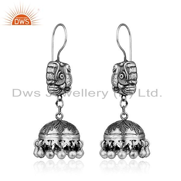 Exporter Traditional Peacock Design Womens Oxidized Sterling Silver Earrings