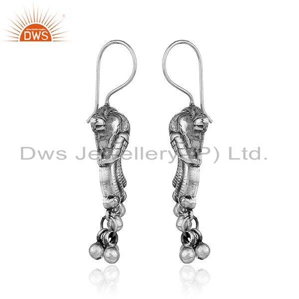 Exporter Traditional Peacock Design Oxidized Tribal Silver Earrings Jewelry
