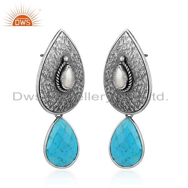 Exporter New Pearl Turquoise Gemstone Oxidized Tribal Silver Earrings Jewelry