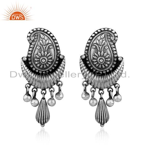 Exporter New Look Oxidized 925 Sterling Silver Designer Womens Earrings Jewelry