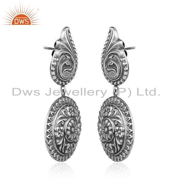 Exporter Antique Floral Design Tribal Sterling Silver Womens Earrings Jewelry