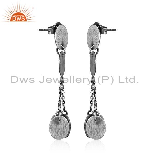Exporter Handmade Oxidized Plated 925 Sterling Silver Earrings Jewelry