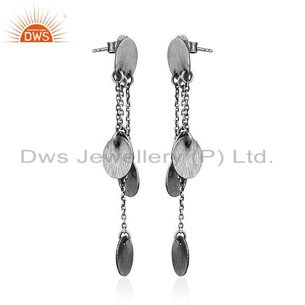 Exporter Handmade Antique Design Sterling Silver Oxidized Earrings Jewelry