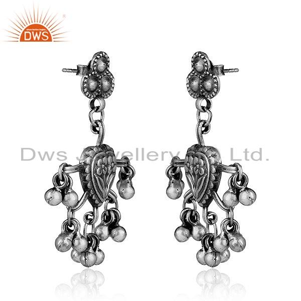 Exporter Floral Designer Oxidized Sterling Plain Silver Earrings Tribal Jewelry