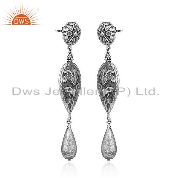 Exporter 925 Sterling Silver Oxidized Floral Design Earrings Jewelry For Girls
