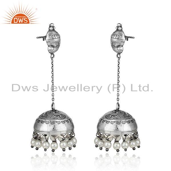 Exporter Natural Pearl Gemstone Oxidized Antique Sterling Silver Jhumka Earring