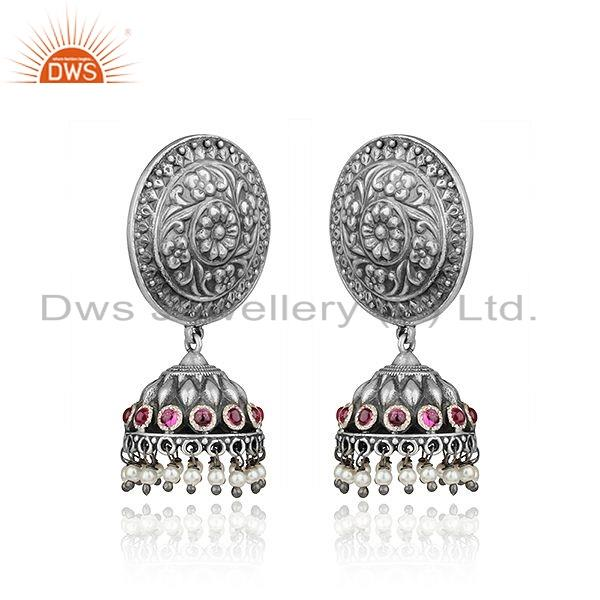 Exporter Pink Hydro  Natural Pearl Oxidized Tribal 925 Silver Jhumka Earrings