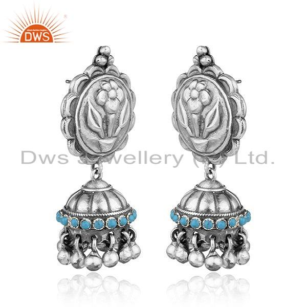 Exporter Floral Design Oxidized 925 Sterling Silver Turquoise Gemstone Earrings