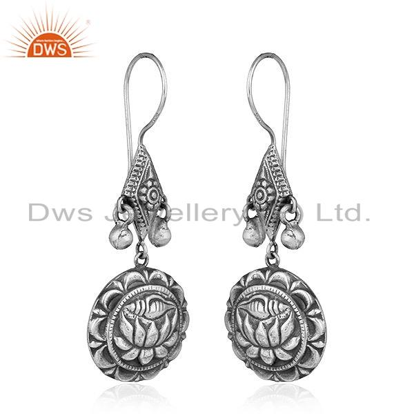 Exporter Louts Carving Design Oxidized Sterling Plain Silver Earrings Jewelry