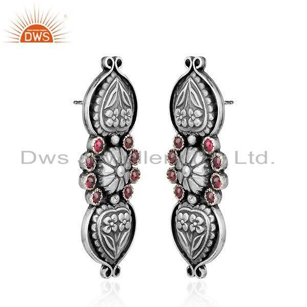 Exporter Antique Oxidized Hydro Pink Gemstone Floral Design Silver Earrings
