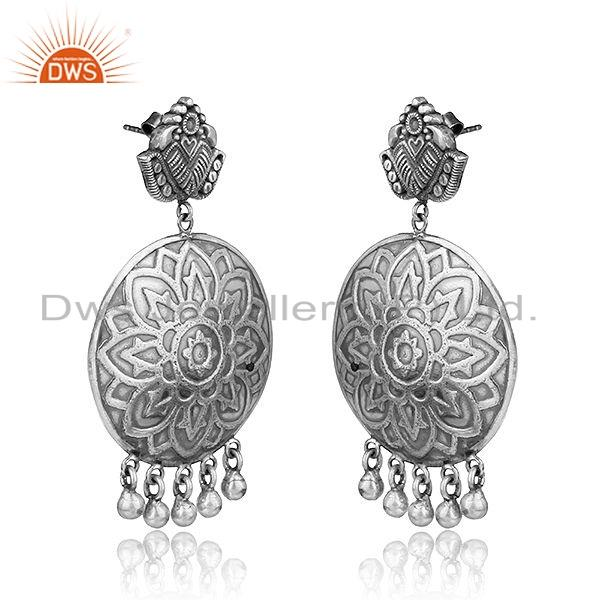 Exporter Hand Carved Designer Oxidized Sterling Plain Silver Earrings Jewelry