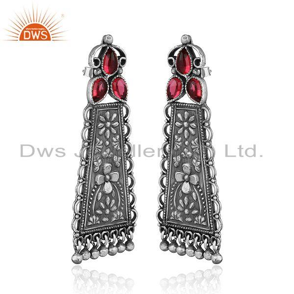 Exporter Floral Carved Hydro Pink Gemstone Oxidized 925 Silver Earrings Jewelry