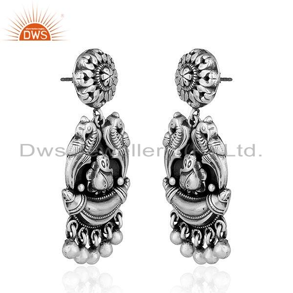 Exporter Lord Ganesh Oxidized Sterling Plain Silver Temple Earrings Jewelry