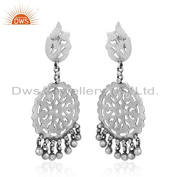 Exporter Round Disc Design Oxidized Antique Sterling Silver Earrings Jewelry