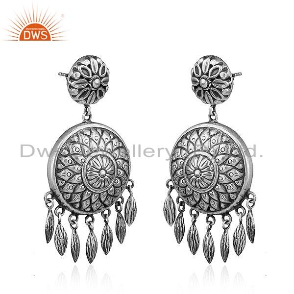 Exporter Traditional Design Antique 925 Silver Oxidized Earrings Jewelry