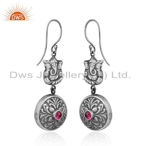 Exporter Pink Hydro Gemstone Oxidized 925 Silver Lord Ganesha Earrings Jewelry