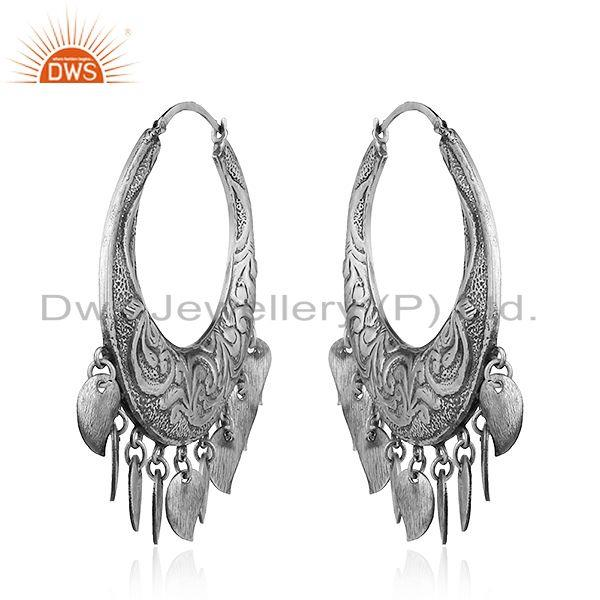 Exporter New Antique Design Sterling Silver Oxidized Design Earrings Jewelry