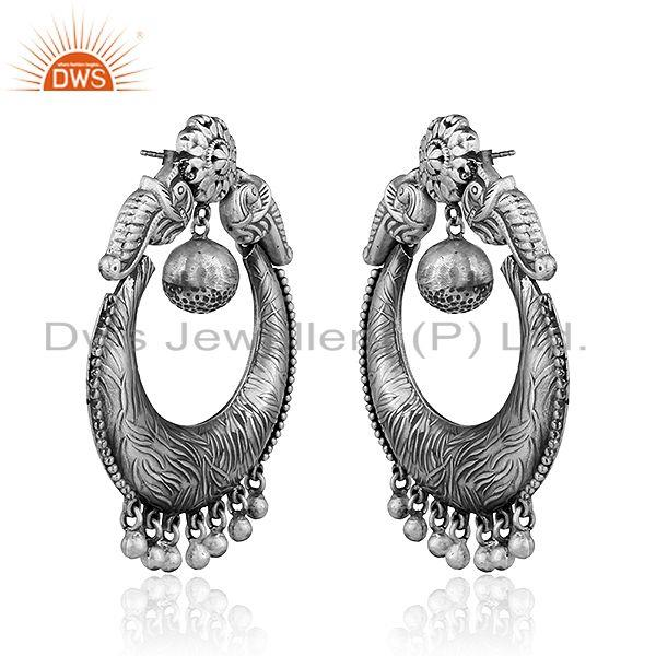 Exporter Antique Chand Bali Sterling Silver Oxidized Womens Earrings Jewelry