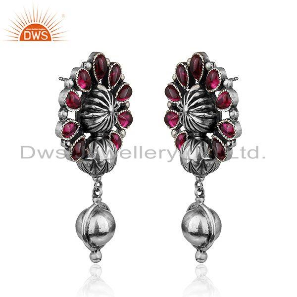 Exporter Floral Shape Oxidized 925 Sterling Silver Hydro Pink Gemstone Earrings
