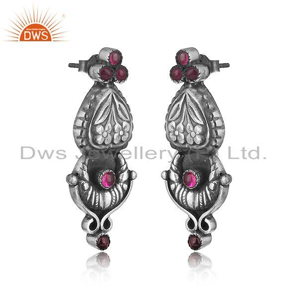 Handcrafted floral design tribe red stone earring in oxidized silver