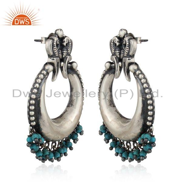 Exporter Antique Oxidized Peacock Design Turquoise Gemstone Silver Bali Earring