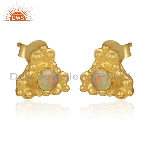 Ethiopian opal gemstone gold plated designer silver stud earrings