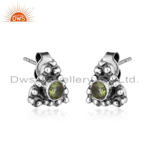 Pridot gemstone womens oxidized 925 sterling silver stud earrings