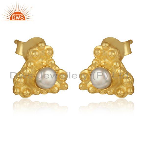 Natural pearl gemstone designer silver gold plated stud earrings