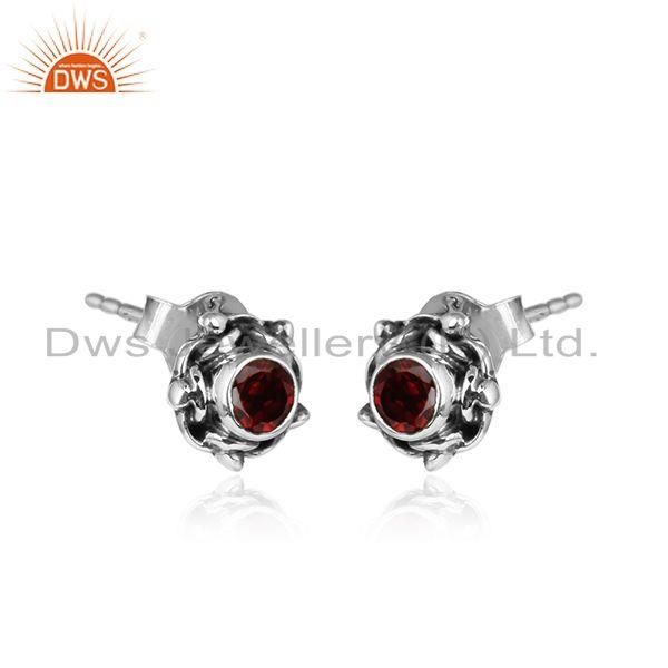 Garnet gemstone oxidized sterling silver antique tiny stud earring