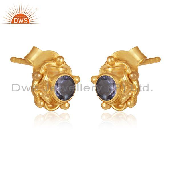 Iolite gemstone designer gold plated silver earrings jewelry
