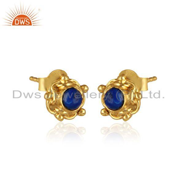 Handmade designer earring in yellow gold on silver with lapis