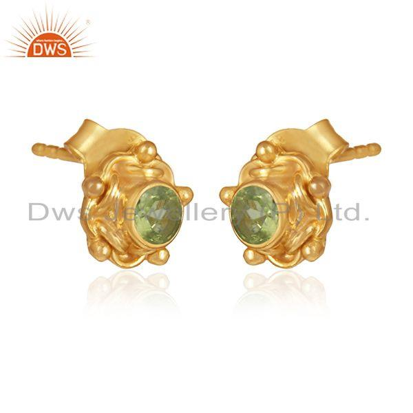 Peridot gemstone handmade gold plated silver stud earring jewelry