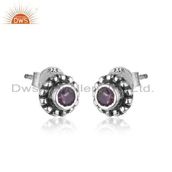 Exporter Round Antique Design Oxidized 92.5 Silver Amethyst Stud Earrings