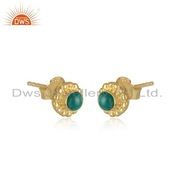 Round gold plated silver amazonite gemstone tiny stud earrings