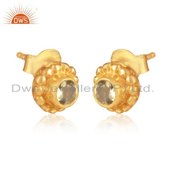 Gold over 925 silver flower design citrine gemstone stud earrings