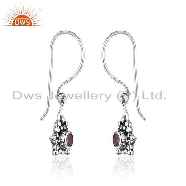 Exporter Amethyst Antique Design 925 Sterling Silver Hook Earrings Jewelry