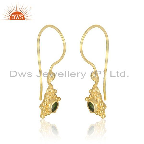 Handmade earring in yellow gold over silver and chrome diopside