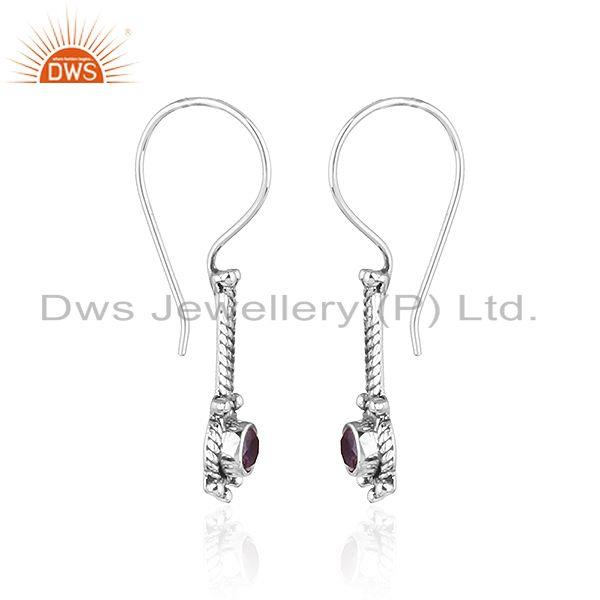 Exporter Natural Amethyst Oxidized Silver Antique Design Hook Earrings