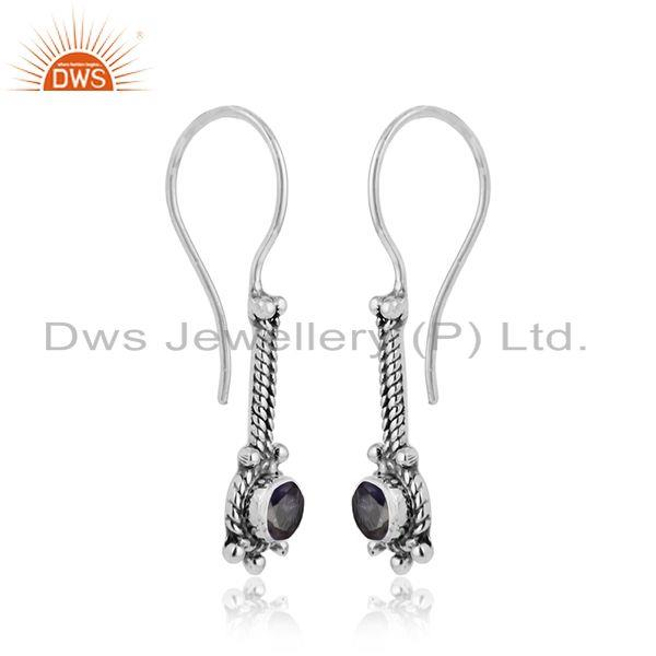 Natural iolite gemstone oxidized plated designer silver earrings