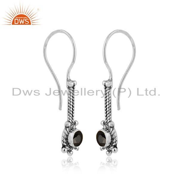 Antique oxidized 925 silver balck onyx gemstone designer earrings