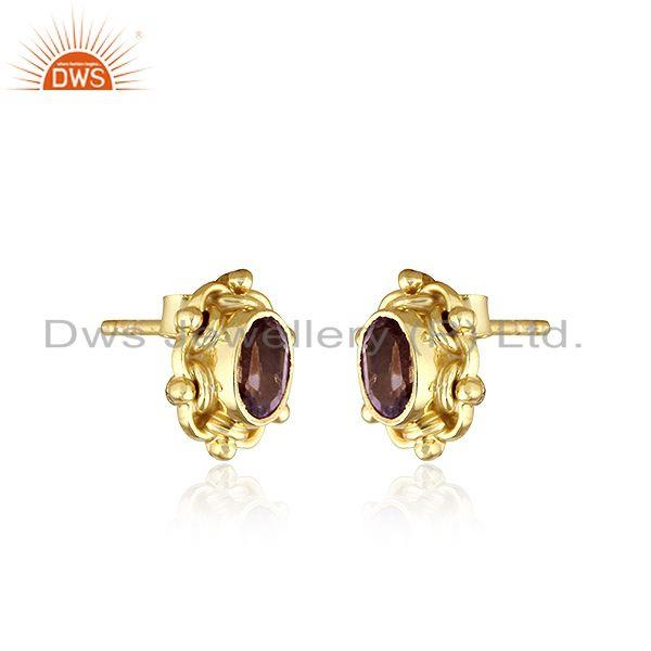 Exporter Natural Amethyst Gold Plated 92.5 Silver Designer Stud Earrings
