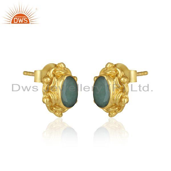 Dainty texture earring in yellow gold over silver with emerald