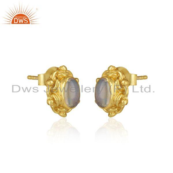 Handcrafted earring in yellow gold on silver with ethiopian opal