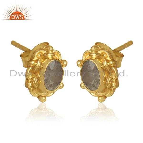 Labradorite gemstone designer 18k gold over silver stud earrings