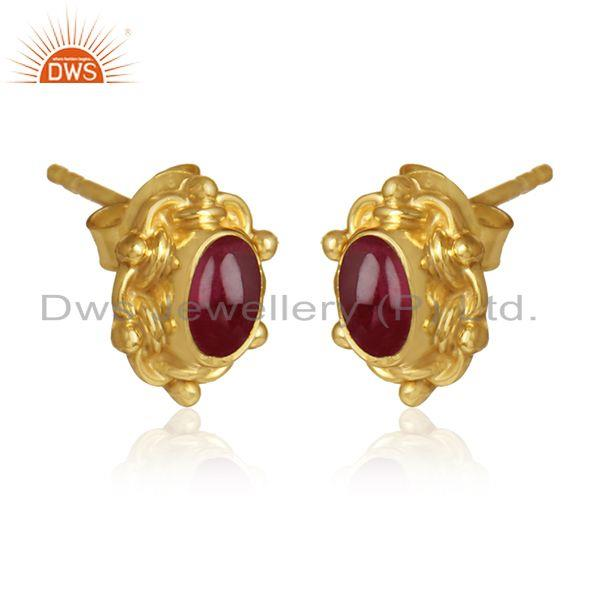 Pink tourmaline gemstone womens gold plated silver stud earrings
