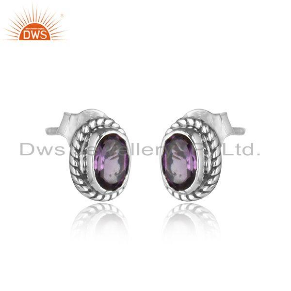 Exporter Handmade Oxidized Plated Sterling Silver Amethyst Stud Earrings