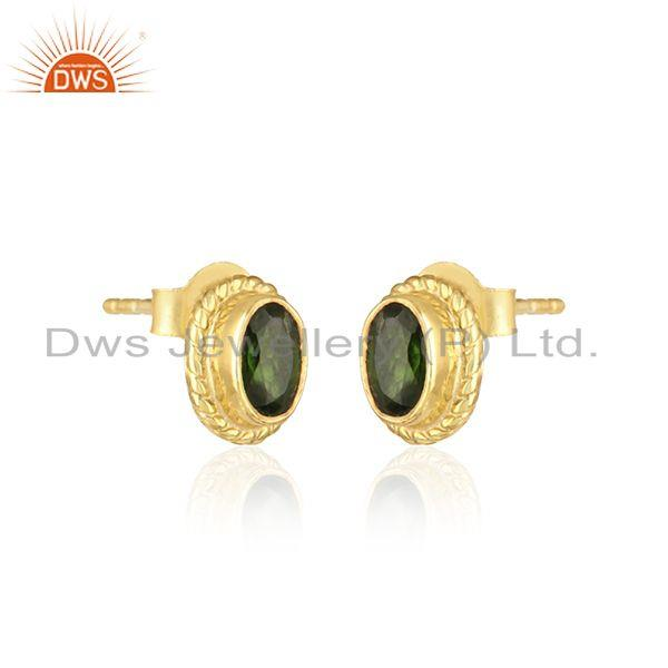 Handmade silver earring with chrome diopside and yellow gold on