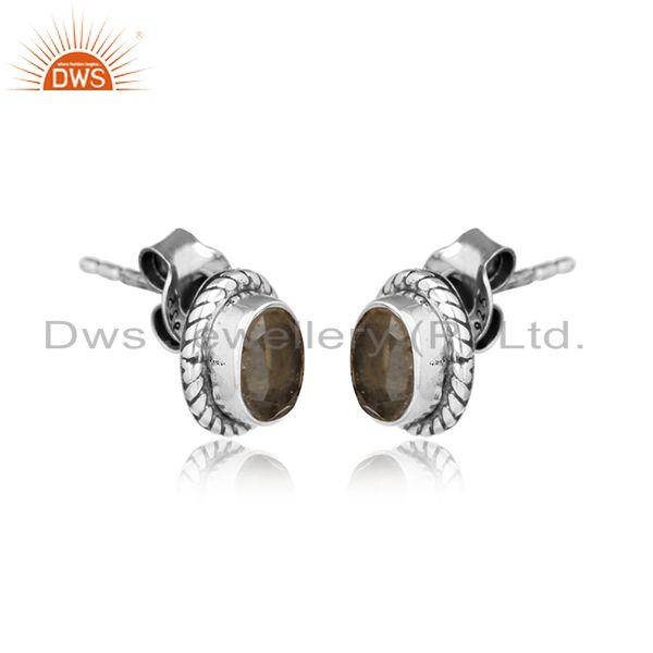 Citrine gemstone womens indian oxidized 925 silver stud earrings