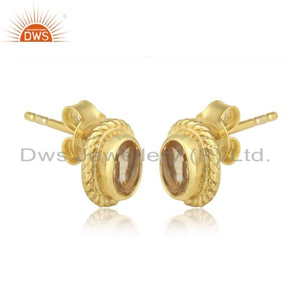 Textured silver 925 stud with citrine and yellow gold plating